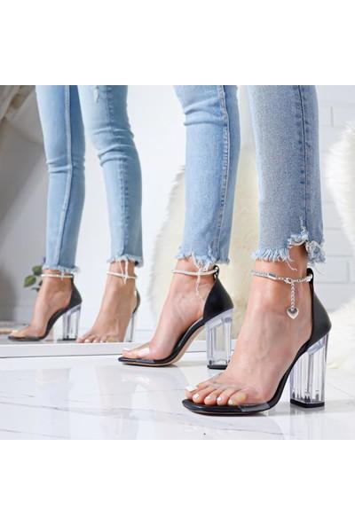 Limoya Erika Siyah Şeffaf Bantlı Şeffaf Topuklu Halhallı Sandalet