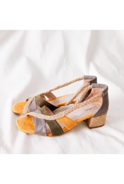 Limoya Nalani Gri Haki Hardal Hasırlı Alçak Topuklu Sandalet
