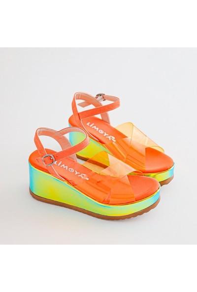 Limoya Lesly Portakal Neon Şeffaf Bantlı Dolgu Tabanlı Kemerli Sandalet