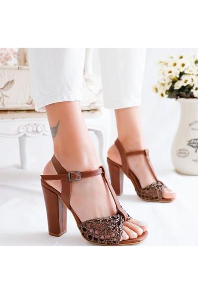Limoya Finley Taba Örgü Bantlı Kemerli Topuklu Sandalet