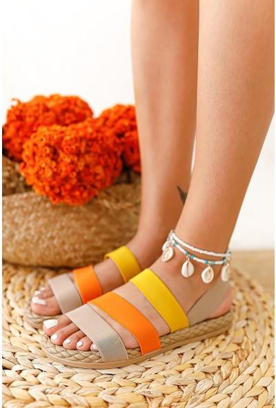 Limoya Grace Bej Portakal Limon Lastik Sandalet ( Rahat Eva Tabanlı )