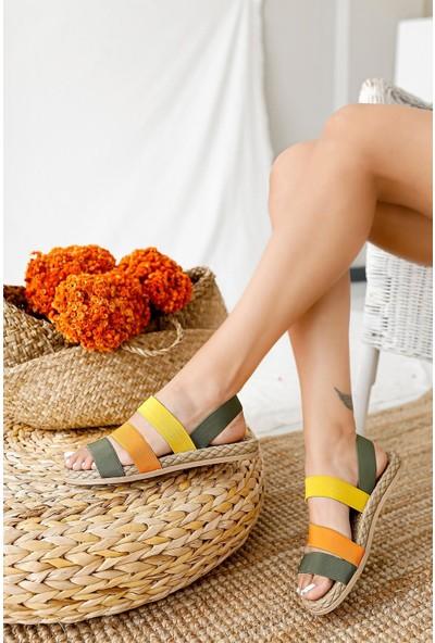 Limoya Grace Yeşil Limon Portakal Lastik Sandalet ( Rahat Eva Tabanlı )