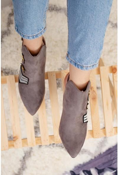 Limoya Harlee Gri Süet Ayna Topuklu Kapalı Sandalet