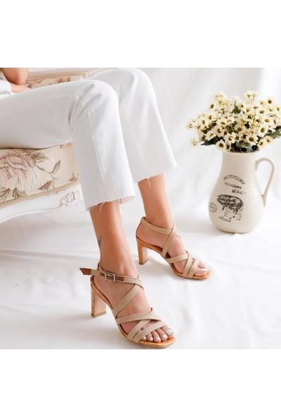 Limoya Haylee Hasır Çapraz Bantlı Köşeli Burun Sandalet