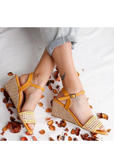 Limoya Ireland Hardal Örgü Bantlı Hasır Dolgu Topuklu Sandalet