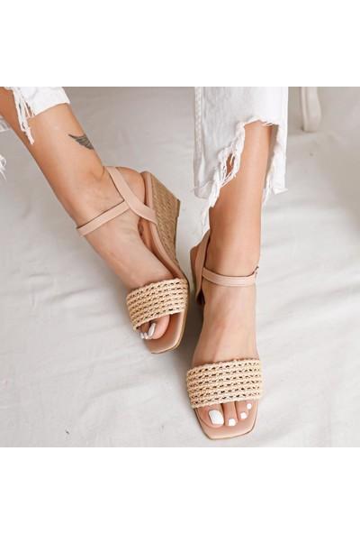 Limoya Ireland Nud Örgü Bantlı Hasır Dolgu Topuklu Sandalet