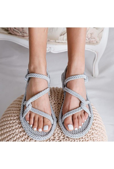 Limoya Jaylene Açık-Gri Halat Sandalet