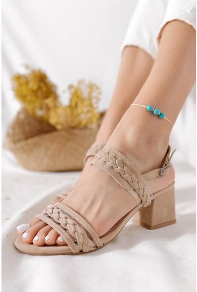 Limoya Jazmin Ten Süet Şeffaf Bant ve Örgü Detaylı Detaylı Altaç Topuklu Sandalet