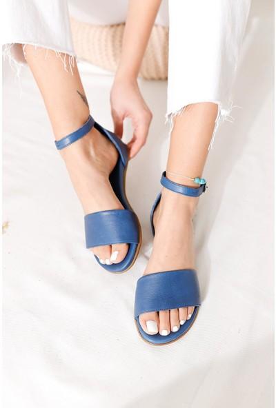 Limoya Kelly Kot Mavi Hakiki Deri Tek Bantlı Comfort Sandalet