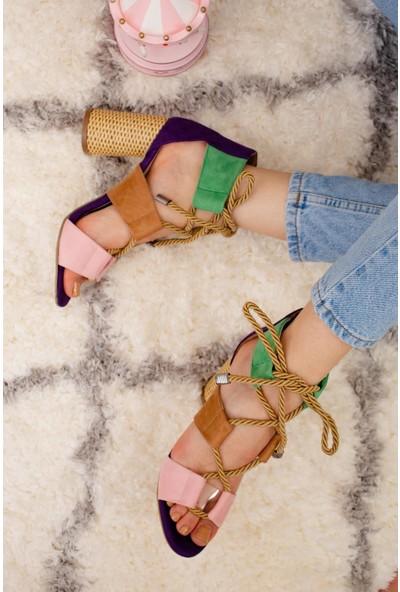 Limoya Kennedy Mor Taba Naturel Hasır Kum TenOval Topuklu Ayakkabı