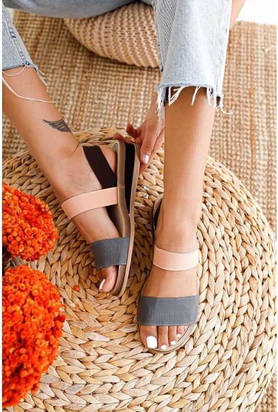 Limoya Kylee Taba Gri Pudra Lastikli Hafif Tabanlı Sandalet