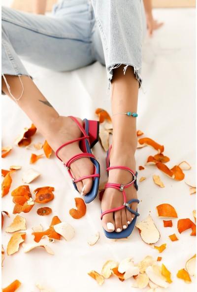 Limoya Livia Lacivert Fuşya Düz Topuklu Pırlanta Detaylı Sandalet