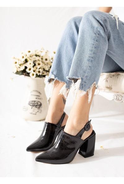 Limoya Maia Siyah Kroko Topuklu Sivri Burun Sandalet