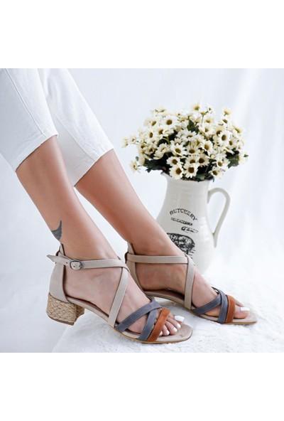 Limoya Malaya Ten Gri Taba Multi Alçak Topuklu Sandalet