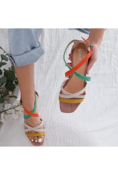 Limoya Malaya Yeşil Portakal Ten Hardal Süet Multi Alçak Topuklu Sandalet