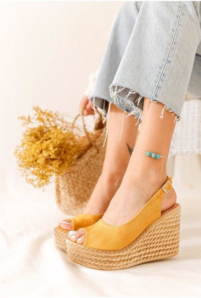 Limoya Marilyn Hardal Süet Dolgu Topuklu Sandalet