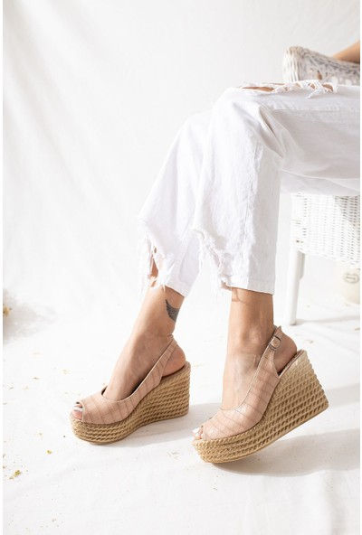 Limoya Marilyn Nud Kroko Dolgu Topuklu Sandalet