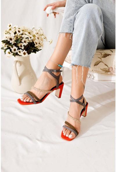 Limoya Milan Portakal Haki Füme Hasır Detaylı Alçak Topuklu Sandalet
