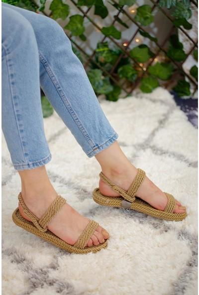 Limoya Olivia Gold Halat Sandalet Basic