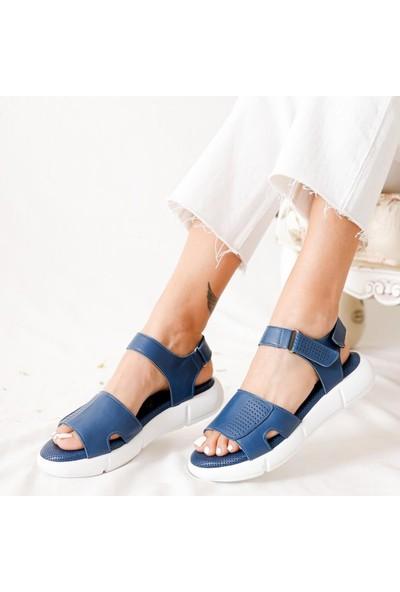 Limoya Rosemary Kot-Mavi Hakiki Deri Casual Full Sandalet
