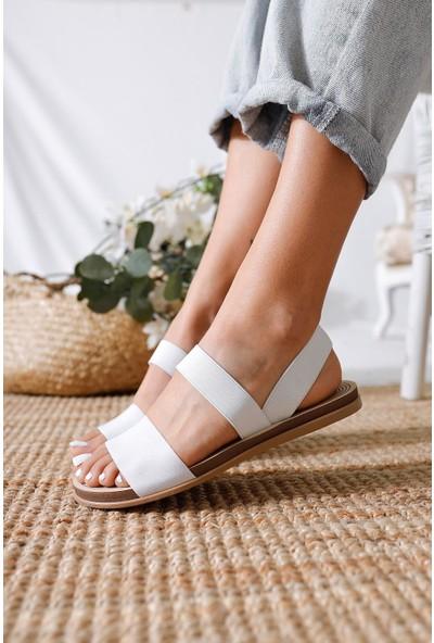 Limoya Ruby Beyaz Lastikli Eva Tabanlı Comfort Hafif Sandalet