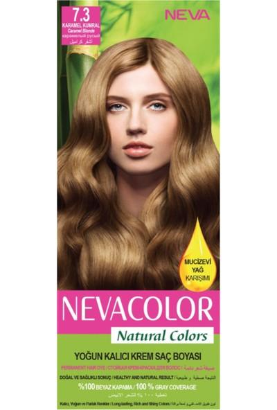 Nevacolor Natural Colors 7.3 Karamel Kumral - Kalıcı Krem Saç Boyası Seti