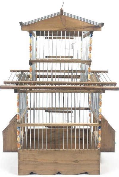 Naturbird 2 Katlı Saka Kanarya Ahşap Kafes ( Telli )
