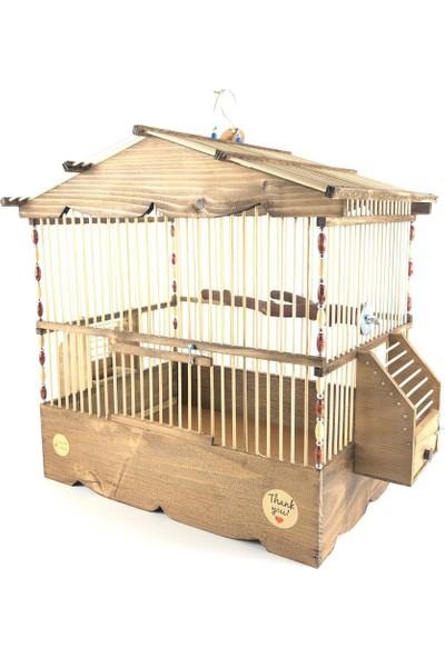 Naturbird Dik Çatı Ahşap Kafes ( Bambu Telli)