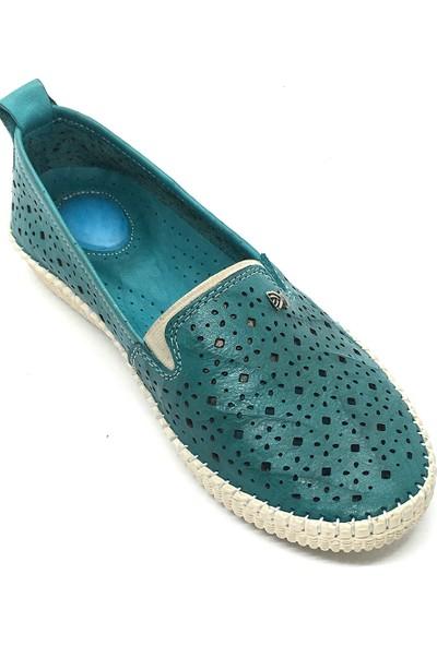 Damien Deri Kadın Bağsız Günlük Ayakkabı Su Yeşili