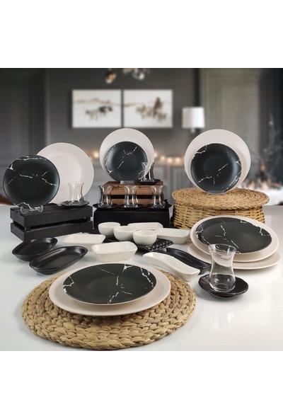 Keramika 36 Parça 6 Kişilik Kahvaltı Takımı Mermer Desenli