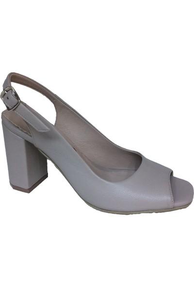 Elegan Bej Deri Konfor Topuk Yazlık Ayakkabı