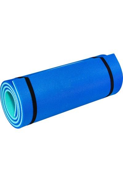 Ege Online Pilates ve Yoga Matı 180 x 60 cm 10 mm Çift Taraflı Turkuaz - Mavi
