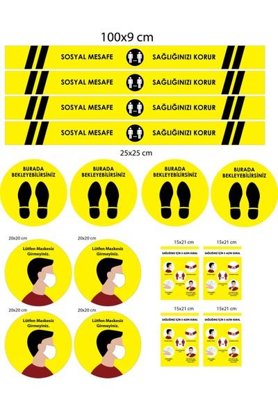 BRN Sosyal Mesafe Uyarı Yer Sticker Sarı 4'lü