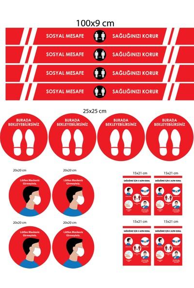BRN Sosyal Mesafe Uyarı Yer Sticker Kırmızı 4'lü