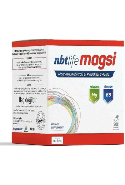 Nbt Life - Magsi Magnezyum Sitrat + Piridoksal 5 Fosfat Kapsül 90 Lık