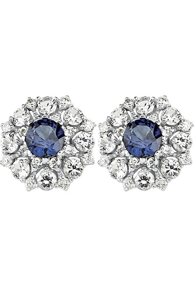 Valentine Diamond Pırlantalı Safirli Küpe - Crown-E