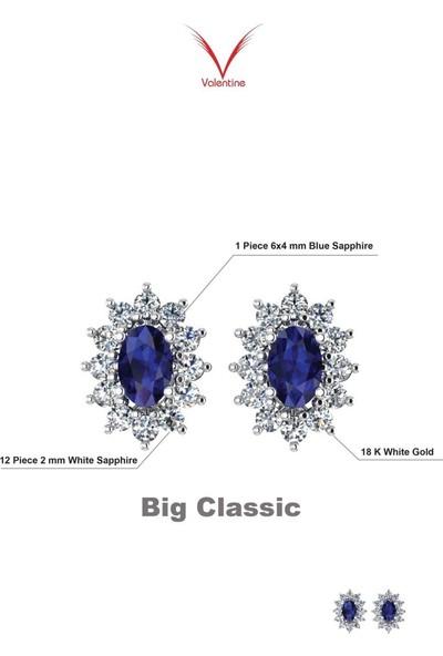 Valentine Diamond Pırlantalı Safirli Küpe - Big Classic-E