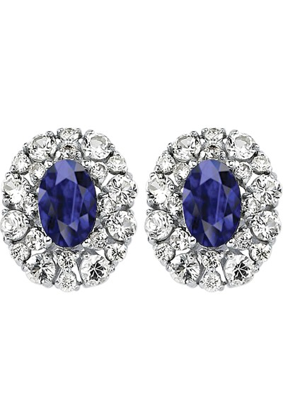 Valentine Diamond Pırlantalı Safirli Küpe - Gleam-E