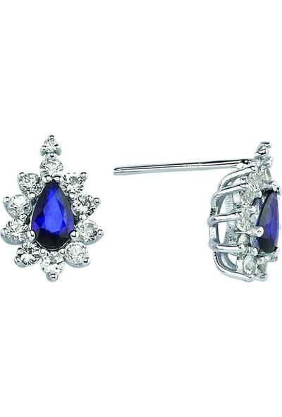 Valentine Diamond Pırlantalı Safirli Küpe - Princess-E