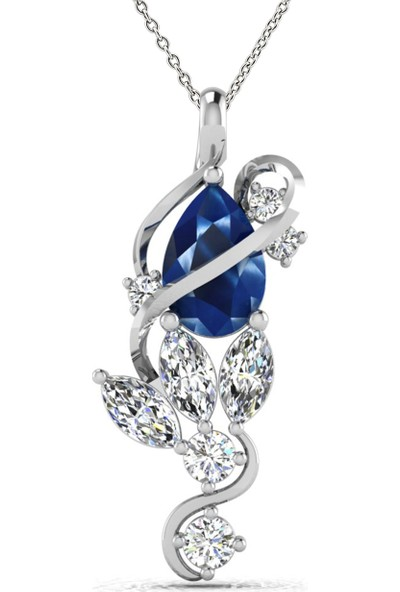 Valentine Diamond Pırlantalı Safirli Kolye - Angel