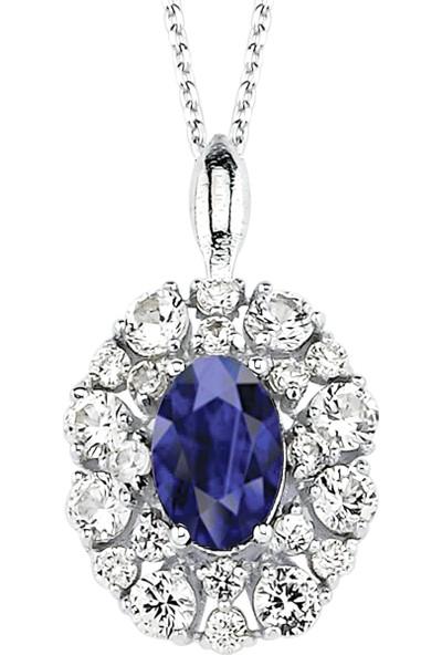 Valentine Diamond Pırlantalı Safirli Kolye - Gleam-P