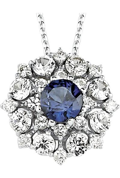 Valentine Diamond Pırlantalı Safirli Kolye - Crown-P