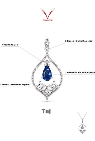 Valentine Diamond Pırlantalı Safirli Kolye - Taj
