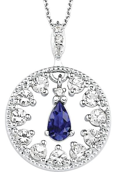 Valentine Diamond Pırlantalı Safirli Kolye - Ocean