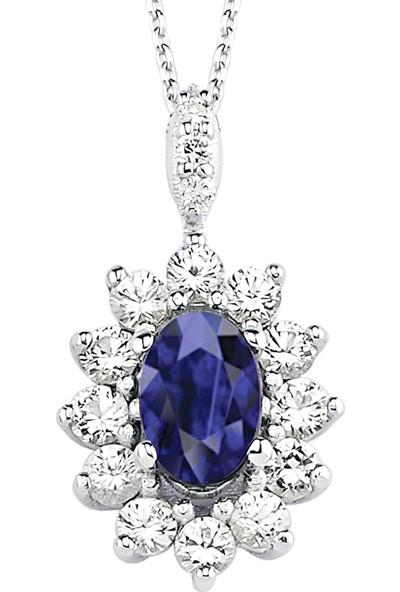 Valentine Diamond Pırlantalı Safirli Kolye - Classic-P