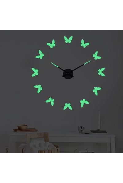 Yukka Yaratıcı Duvar Saati Modern Kendin Yap Karanlıkta Parlayan 3D Dijital Saat