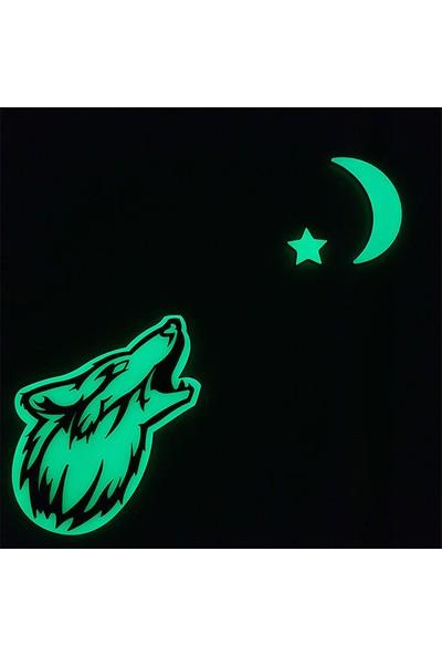 Faami Style Fosforlu Uluyan Kurt + Ay Yıldız