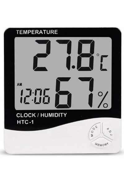HTC Masa Üstü Nem ve Sıcaklık Ölçer Dijital Saat