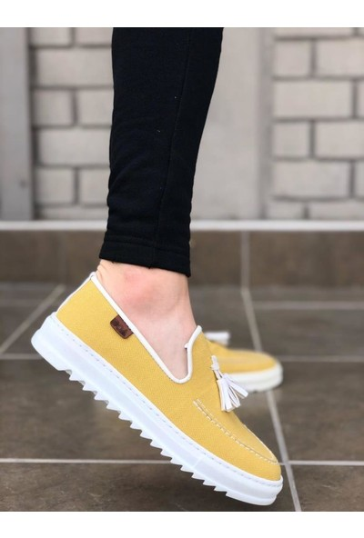 BOA-BA0014 Püsküllü Corcik Sarı Beyaz Tırtıklı Taban Klasik Spor Erkek Ayakkabı