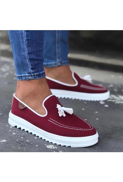 BOA-BA0014 Püsküllü Corcik Kırmızı Beyaz Tırtıklı Taban Klasik Spor Erkek Ayakkabı